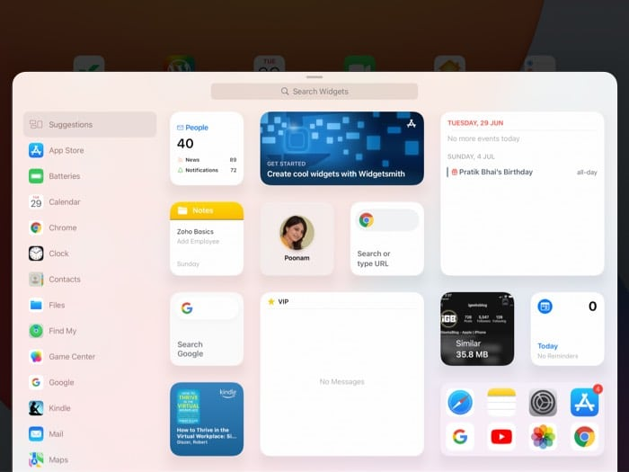 Suchen Sie nach einer App, um ein Widget auf dem iPad-Startbildschirm hinzuzufügen
