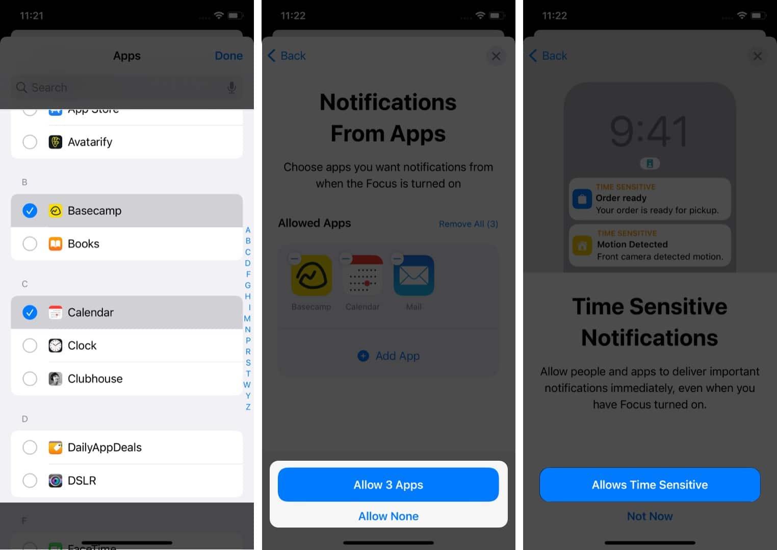 Wählen Sie Apps aus, um Benachrichtigungen im Fokusmodus zuzulassen