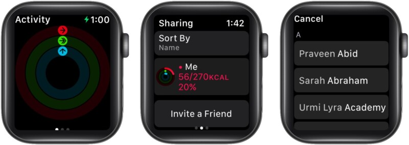 Send activity sharing invitation from Apple Watch