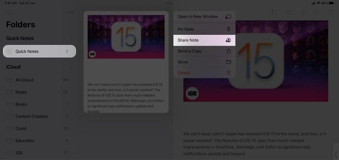 Teilen Sie Ihre Quick Note per E-Mail oder Nachricht auf dem iPad