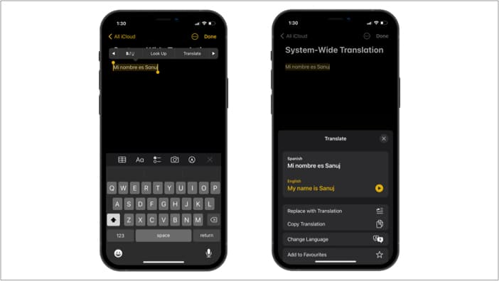 System-wide translation in iOS 15