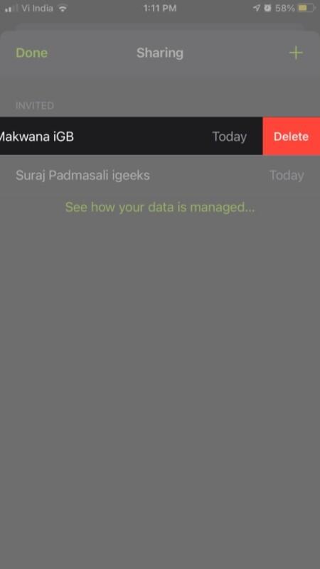 Tap Delete remove invitation from iPhone