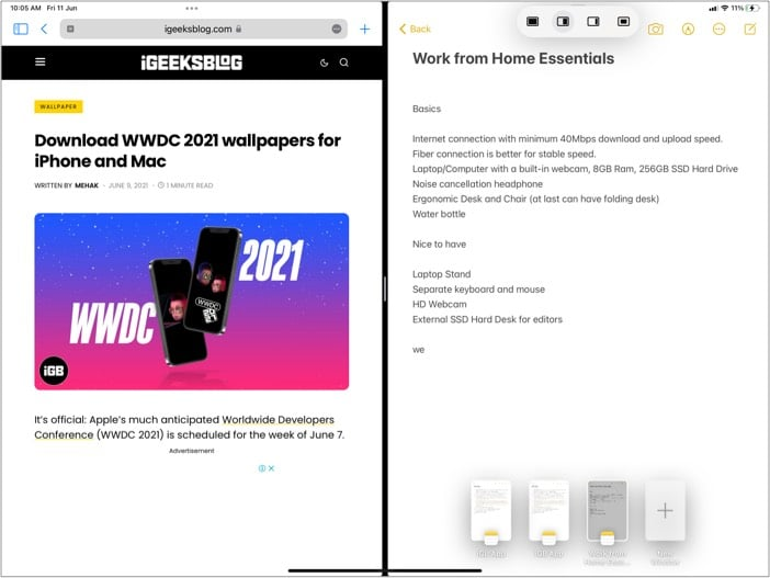 Turn Split View into Slide Over for iPadOS 15