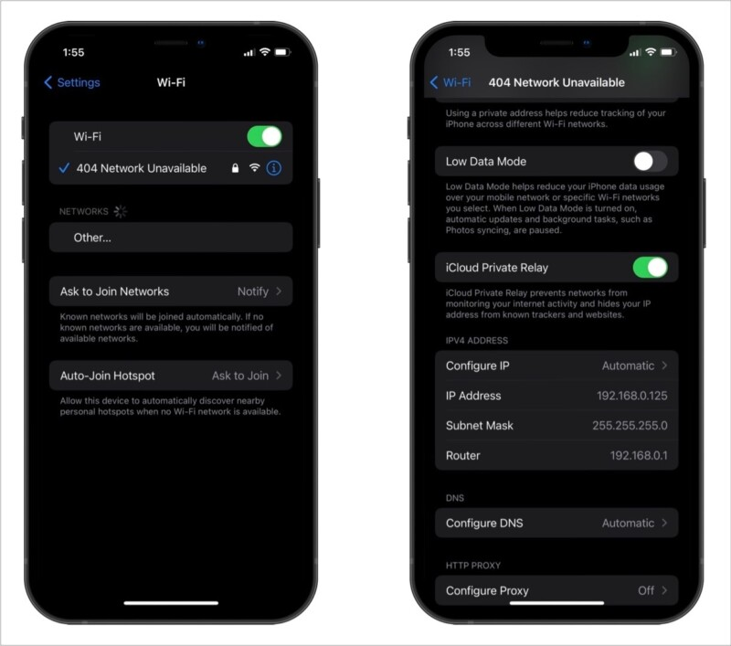 Turn off Private Relay for specific Wi-Fi Connections on iPhone