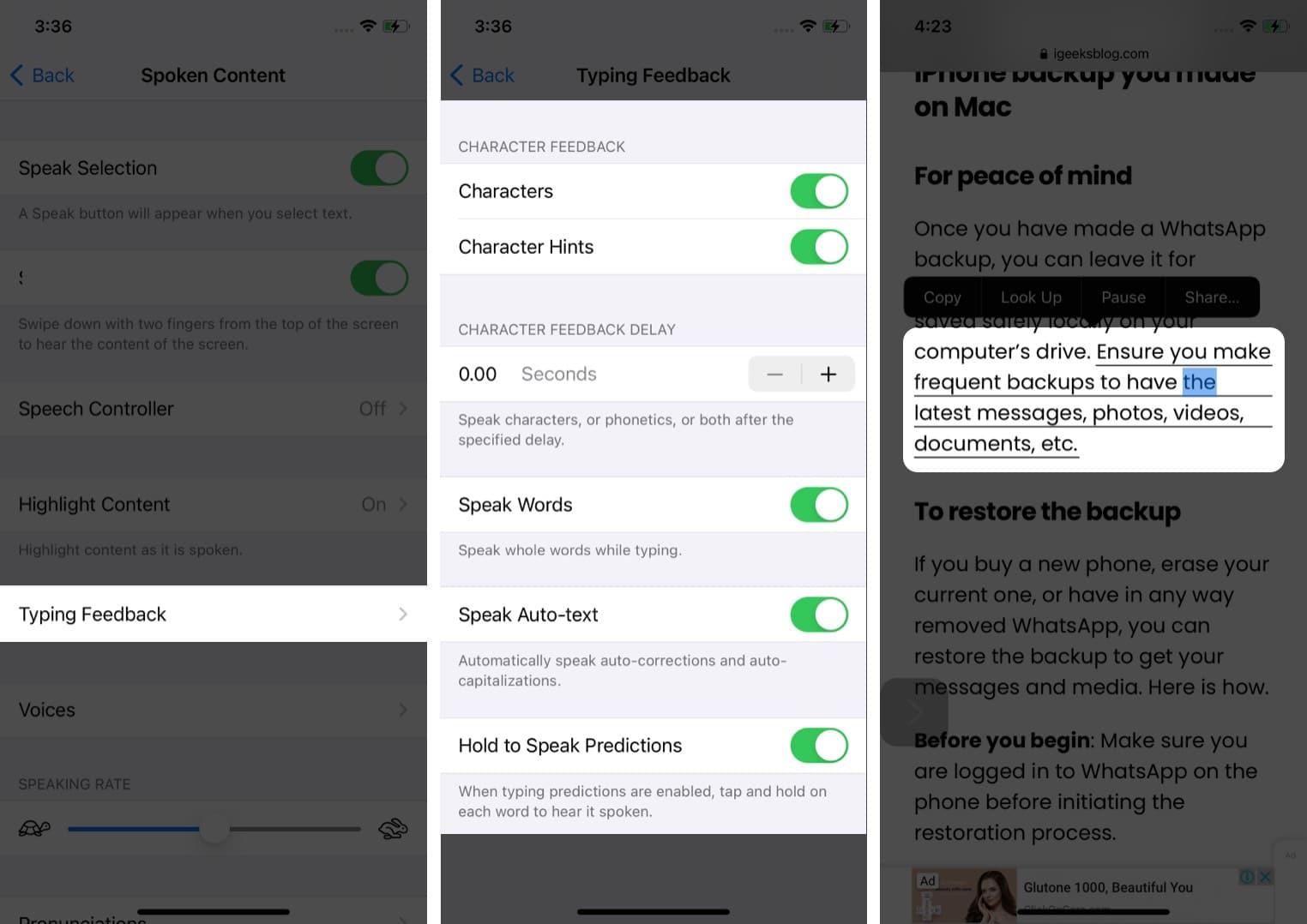 Typing Feedback to make Siri speak on iPhone