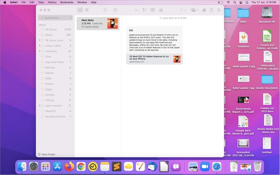 Schnellnotizen in der Notizen-App auf dem Mac anzeigen und bearbeiten