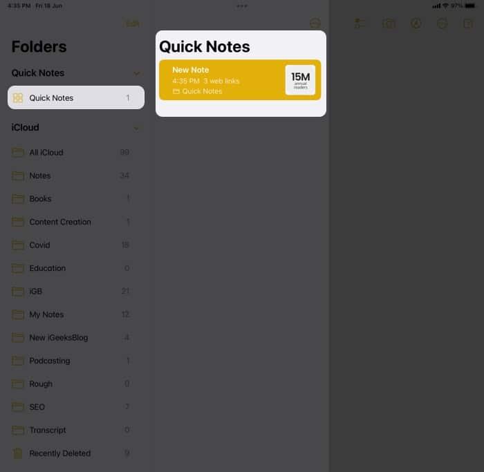 Zeigen Sie Ihre Quick Notes in iPadOS 15 . an