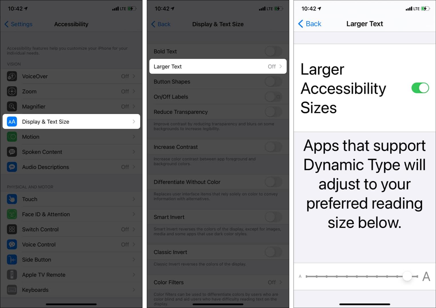 Passen Sie die Textgröße auf dem iPhone mit den Eingabehilfen-Einstellungen an