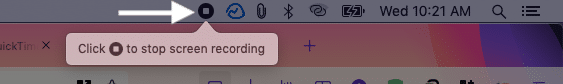 Click tiny stop icon from top menu bar to stop screen recording