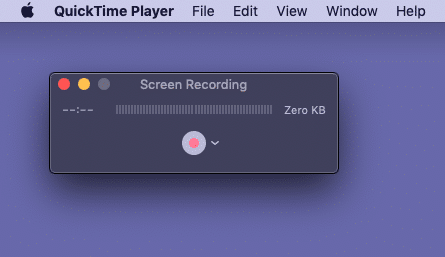 Click tiny white red button in QuickTime Player