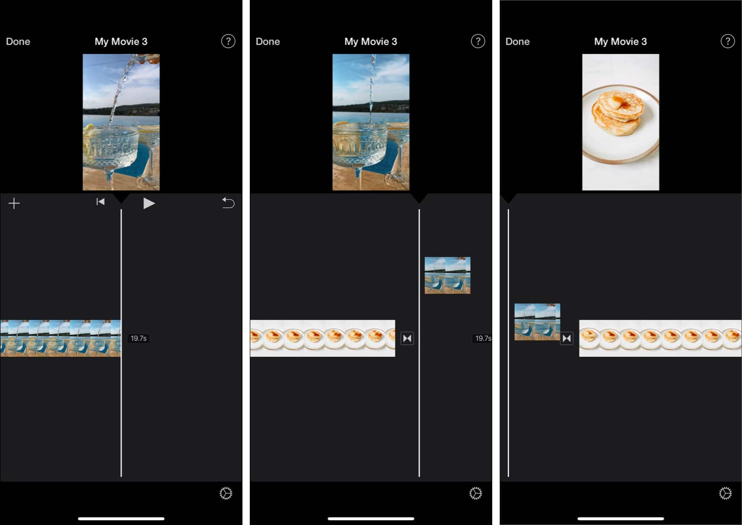 Dragging to change video position in iMovie timeline