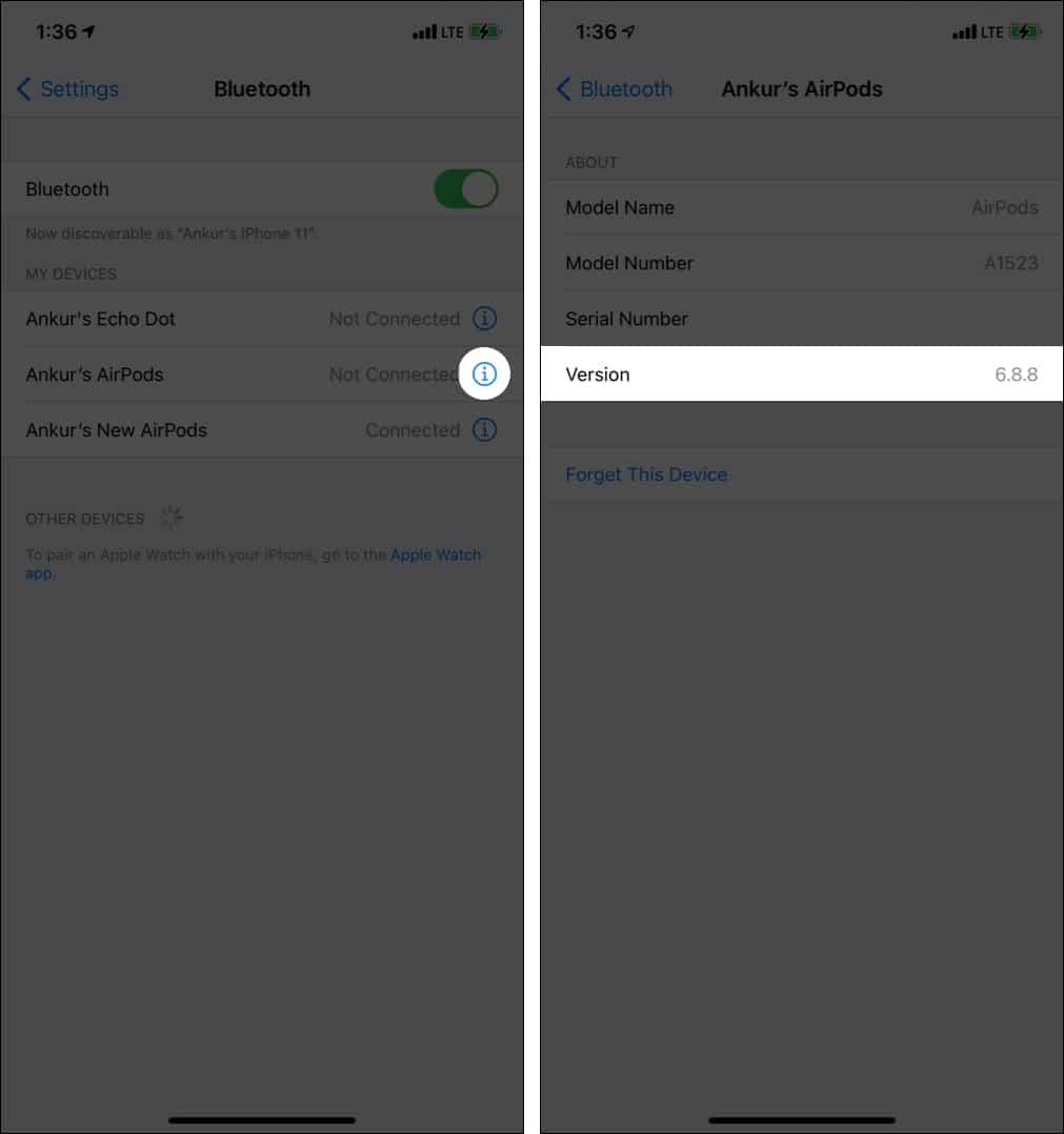 So überprüfen Sie die Firmware-Version von AirPods mithilfe des Bluetooth-Abschnitts