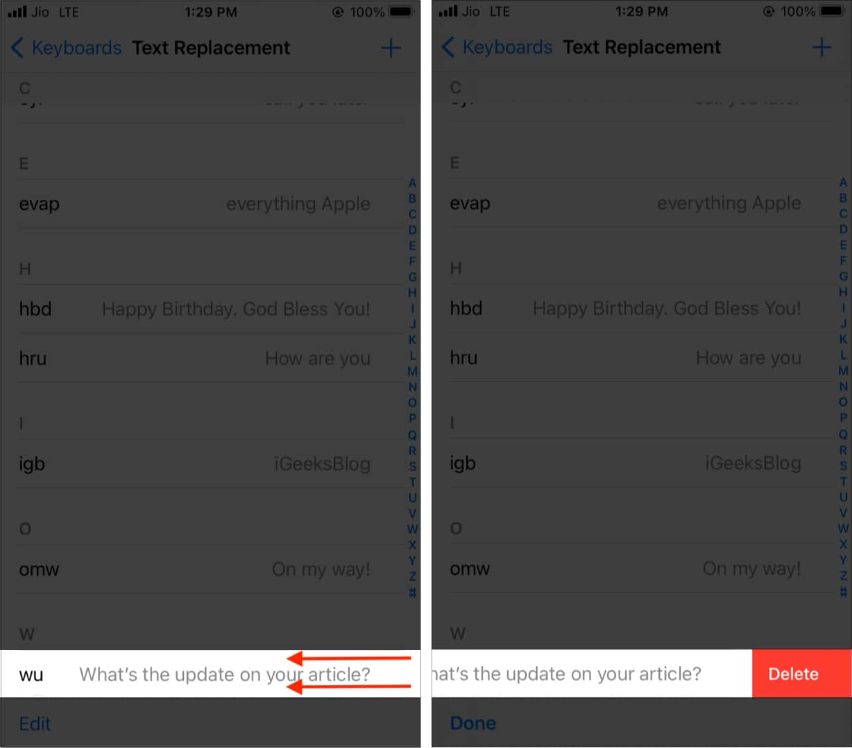 How to delete text shortcuts on iPhone