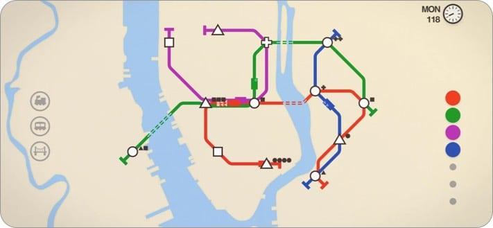 Screenshot des Mini-Metro-Indie-Spiels