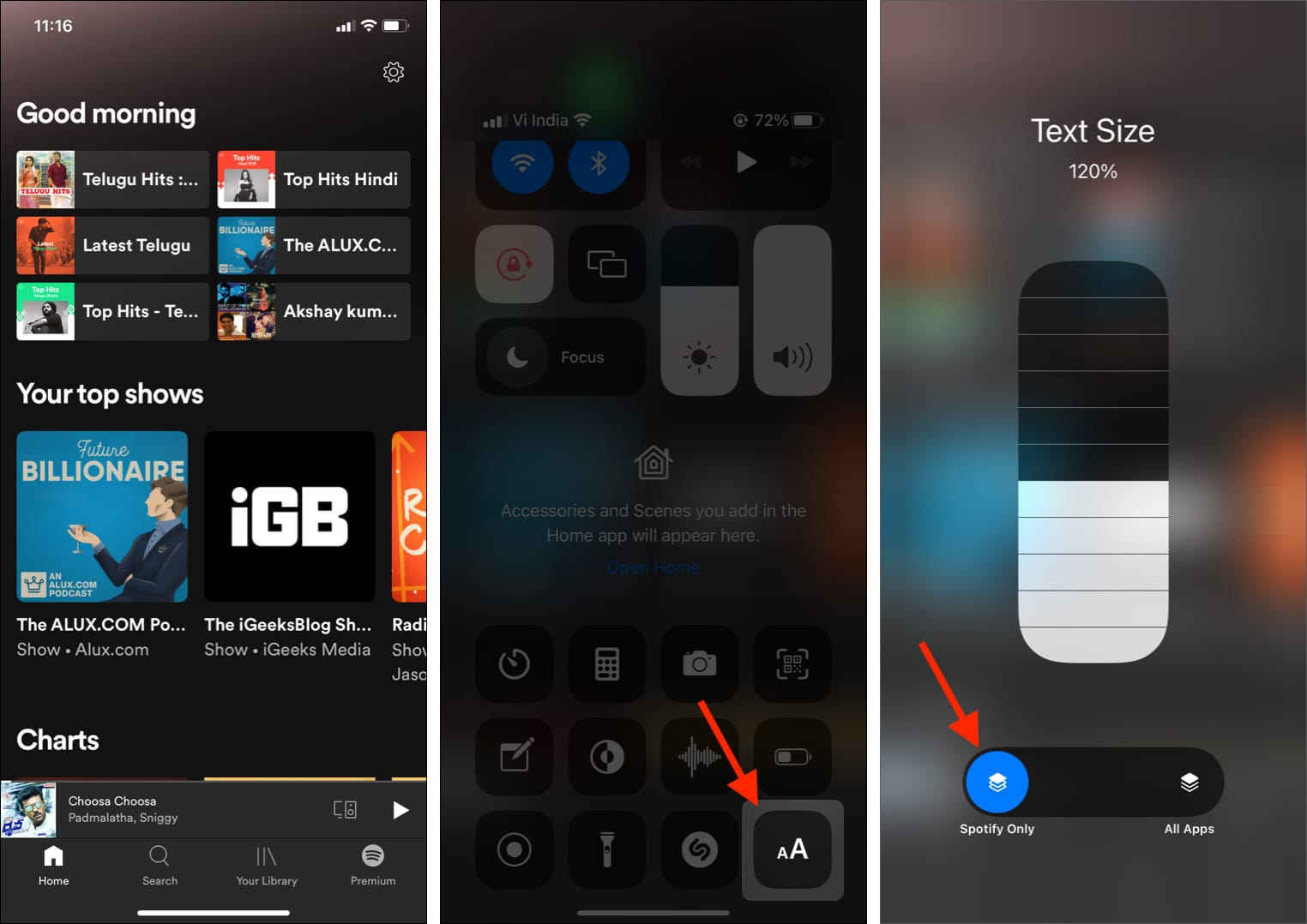 App öffnen Kontrollzentrum bringen auf AA tippen App-Namen tippen und den Schieberegler für die Textgröße nach oben ziehen