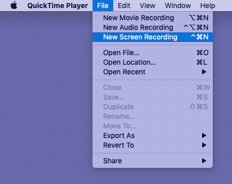 Open QuickTime Player click File and choose New Screen Recording