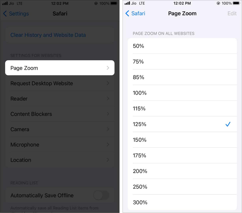 Seitenzoom-Einstellungen für Websites in Safari unter iOS 15