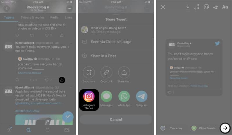 Поделиться твитом в Instagram Stories iOS