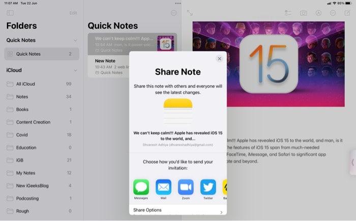 Freigabeoption über den Freigabebildschirm auf dem iPad