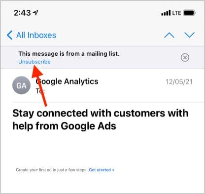 Schnell von Mailinglisten auf dem iPhone abmelden