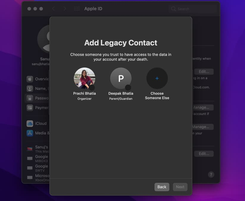 Add the desired contact on Mac