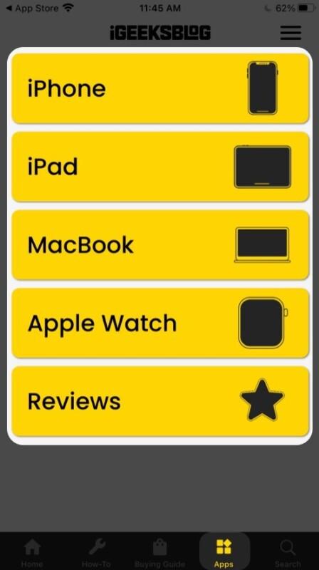 Apps section in iGeeksBlog app