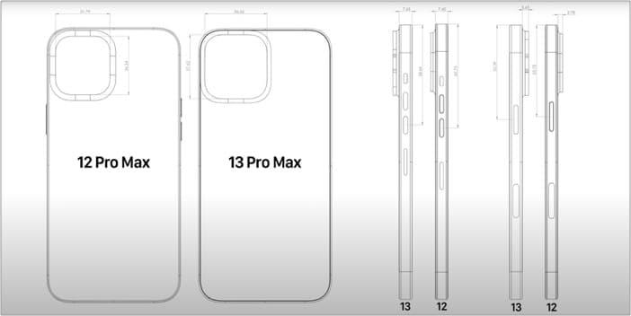 Увеличенный вырез под камеру и большую толщину корпуса iPhone 13