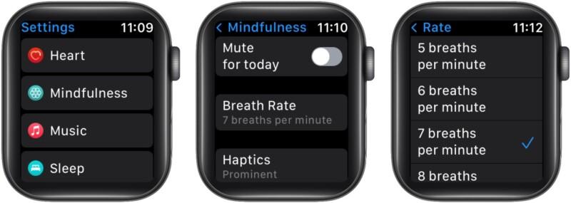 Изменить частоту дыхания на Apple Watch