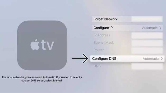 Измените DNS на Apple TV