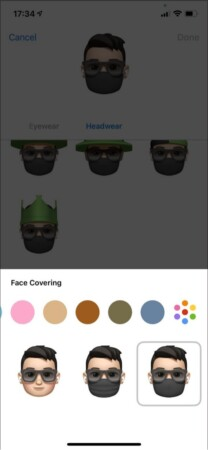 Change color of Face Covering in Memoji on iPhone
