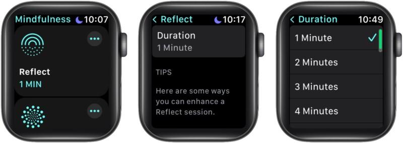 Изменить продолжительность сеанса Reflect на Apple Watch