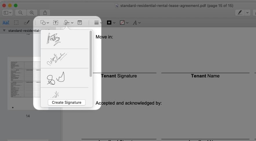 Click Signature icon, Select signature from the list or click Create Signature
