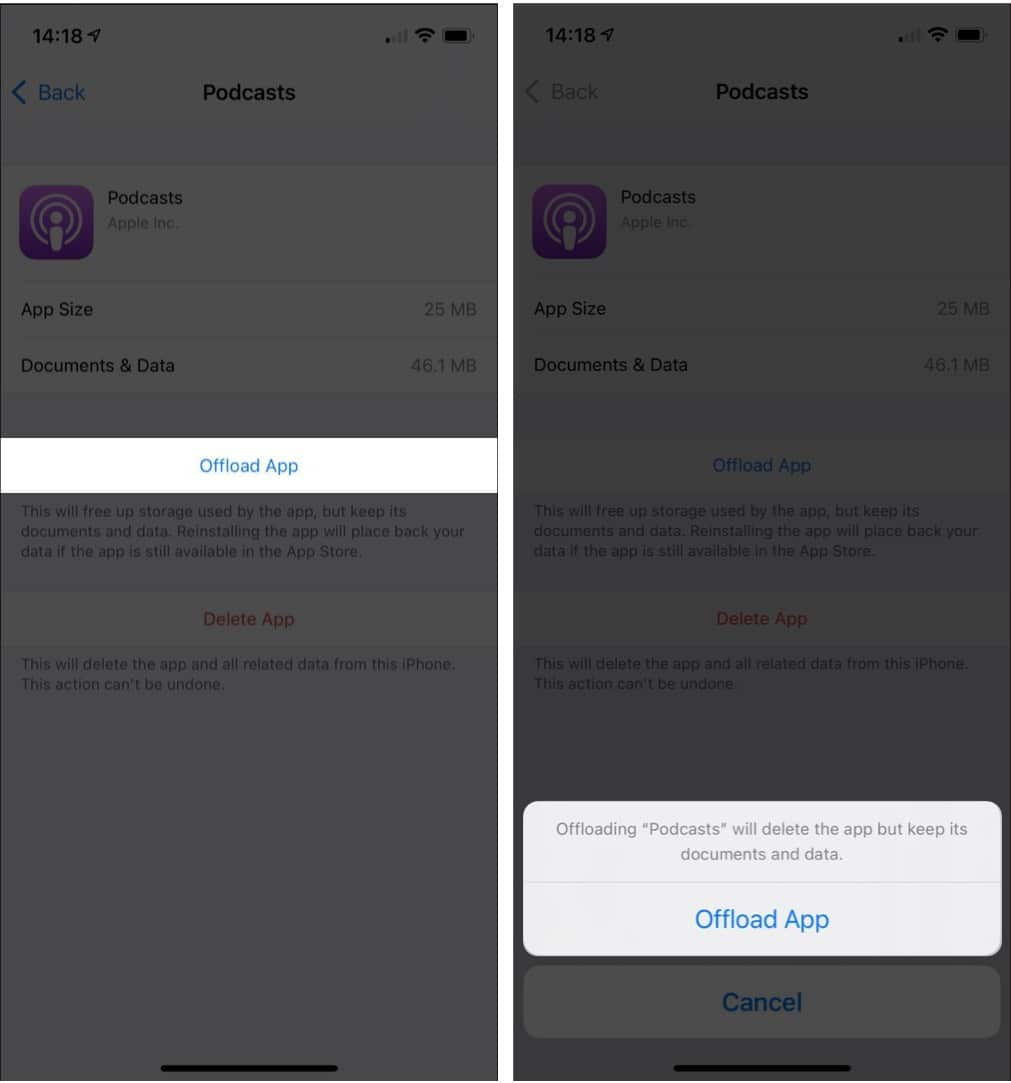 Confirm process by tappingOffload App on iPhone