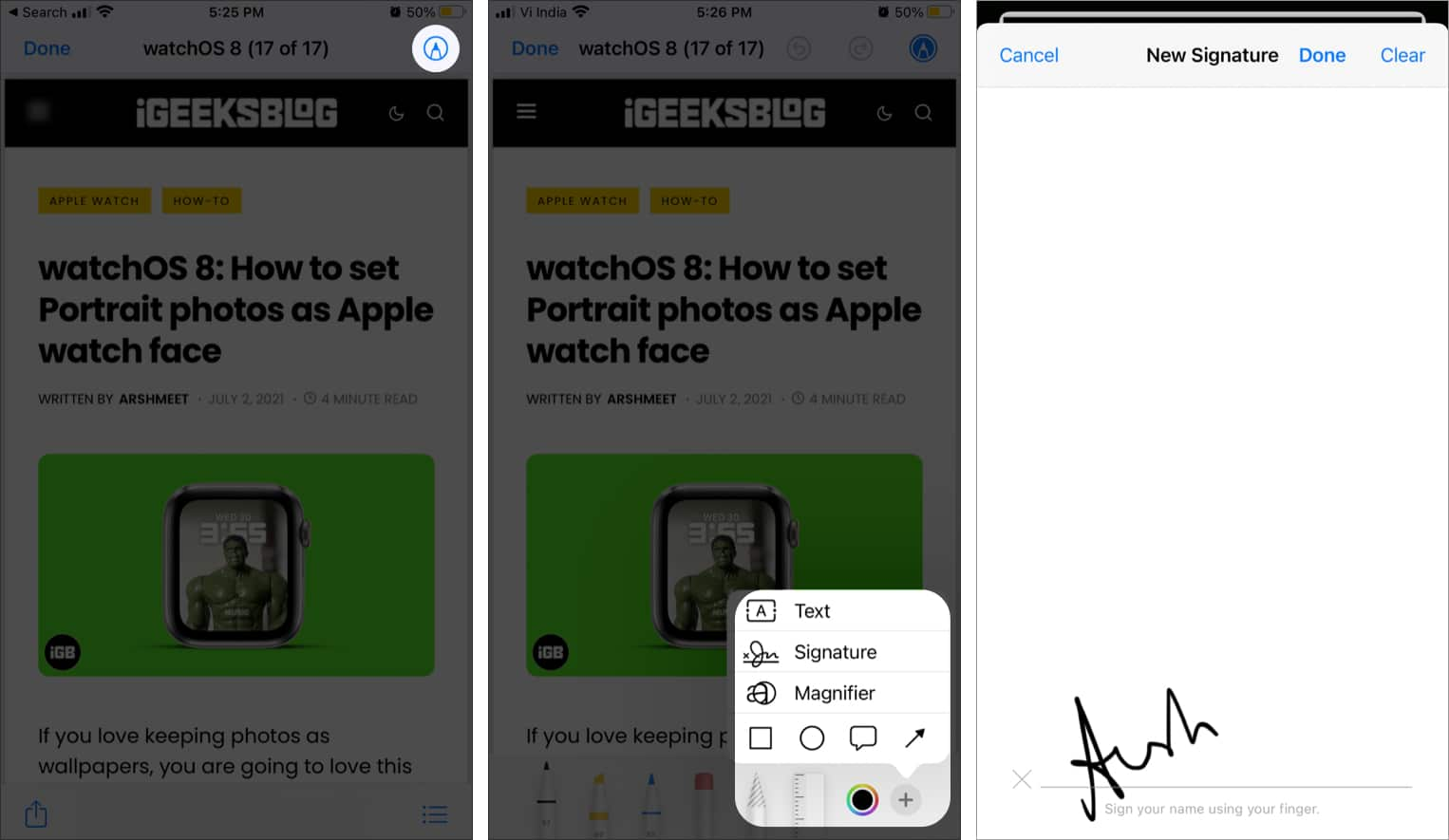 Create a signature on iPhone using the Files app