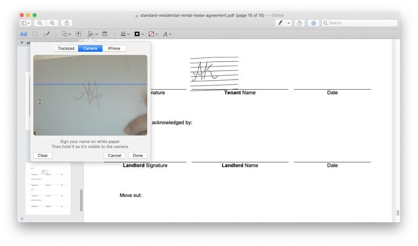 Create a signature using Mac Camera