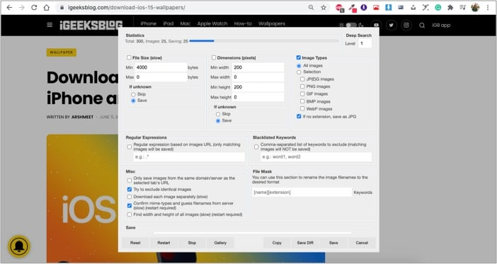 Download All Images chrome extension