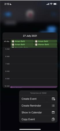 Event creation in Apple Calendar