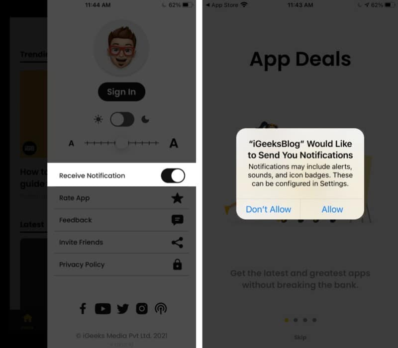 Get notifications from iGeeksBlog app