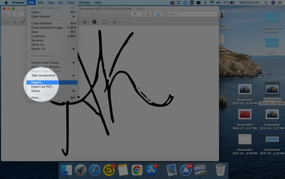 Go to File from the menu bar and click Export