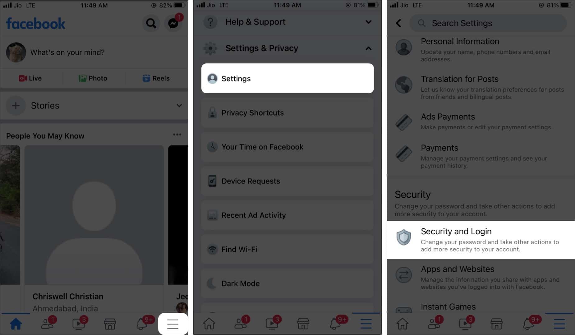 Перейдите в раздел «Безопасность» и войдите в приложение Facebook с iPhone.