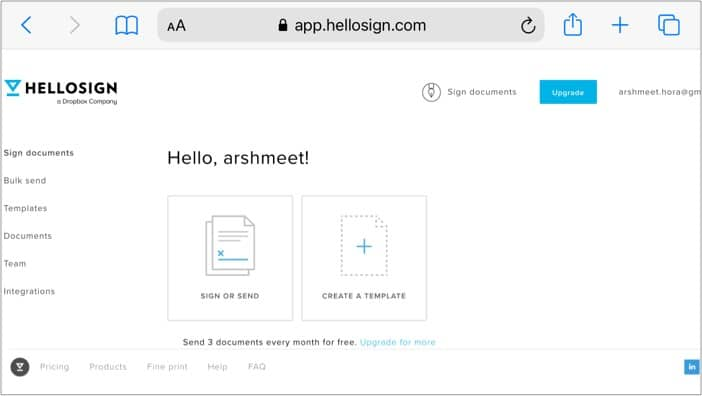 HelloSign online document signing tools on iPhone
