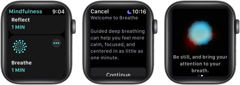 Как начать сеанс дыхания на Apple Watch