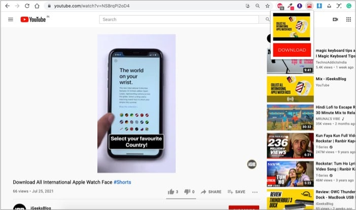 Image download for YouTube chrome extension