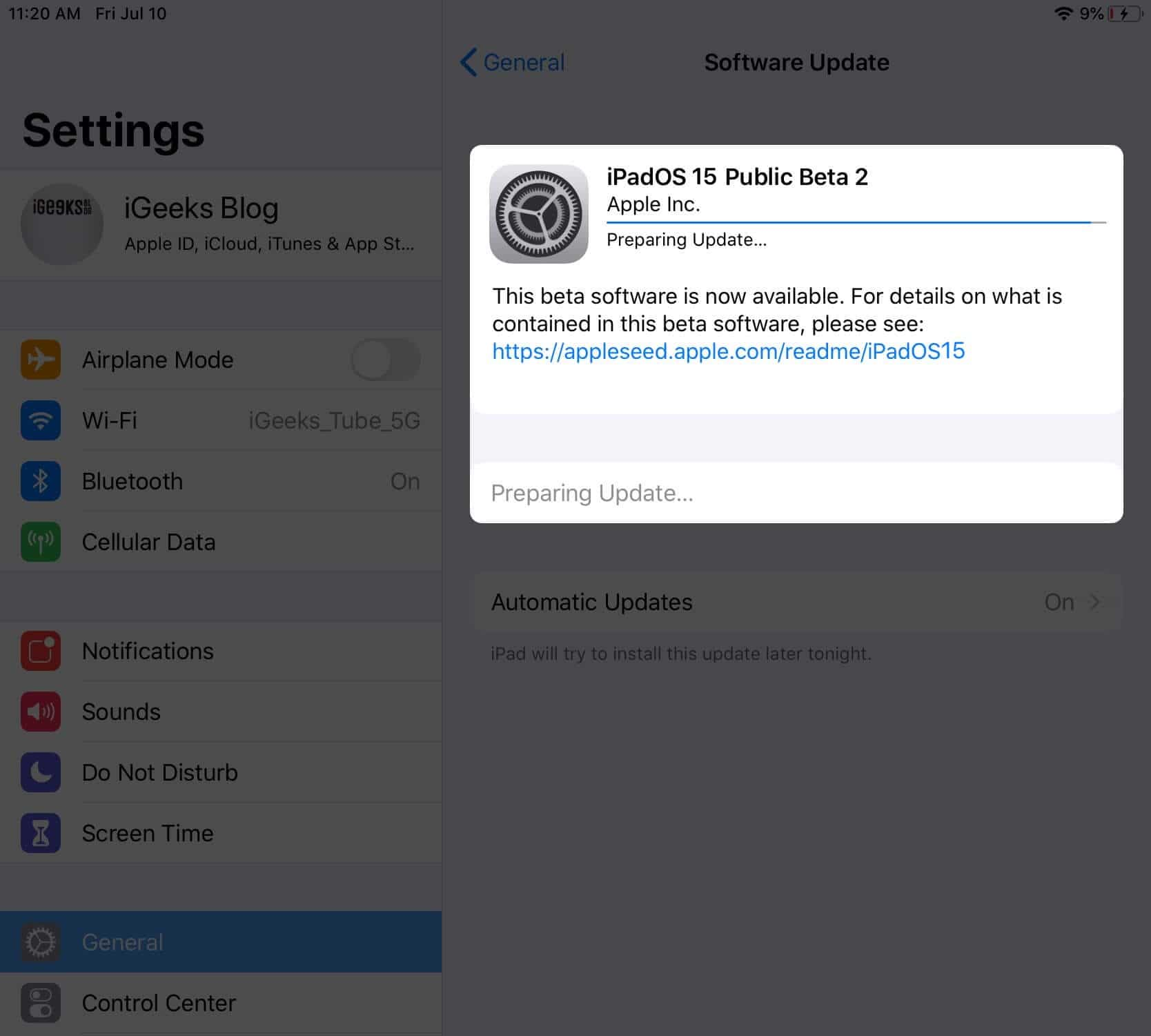 Install iPadOS 15 public beta on iPad