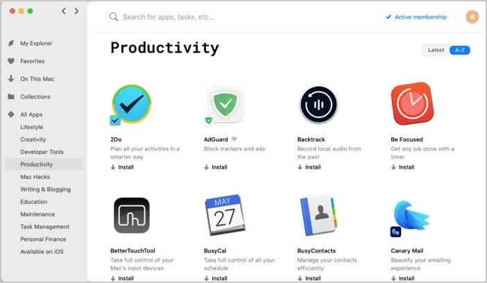 Productivity of Setapp for Mac