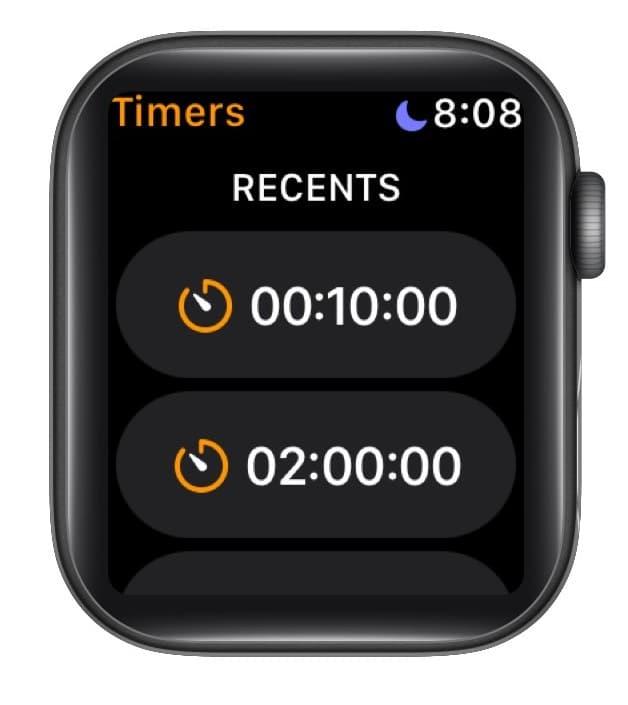 Повторите ранее установленный таймер на Apple Watch