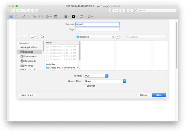 Save the copy on your Mac and reattach to share it
