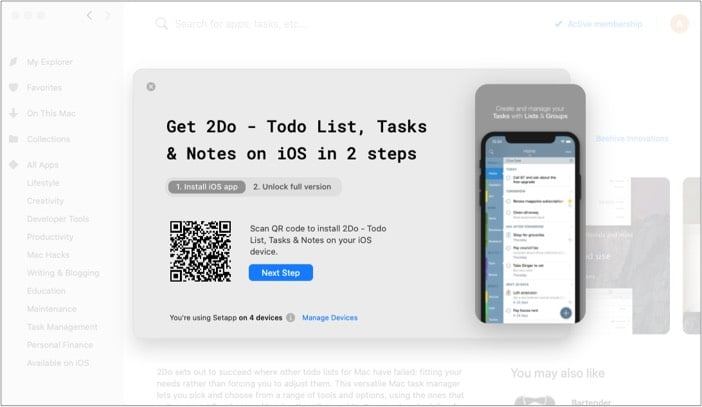 Scan the current QR with your iPhone from Mac setapp