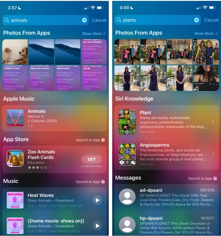 Suche nach Objekten über die Spotlight-Suche auf dem iPhone