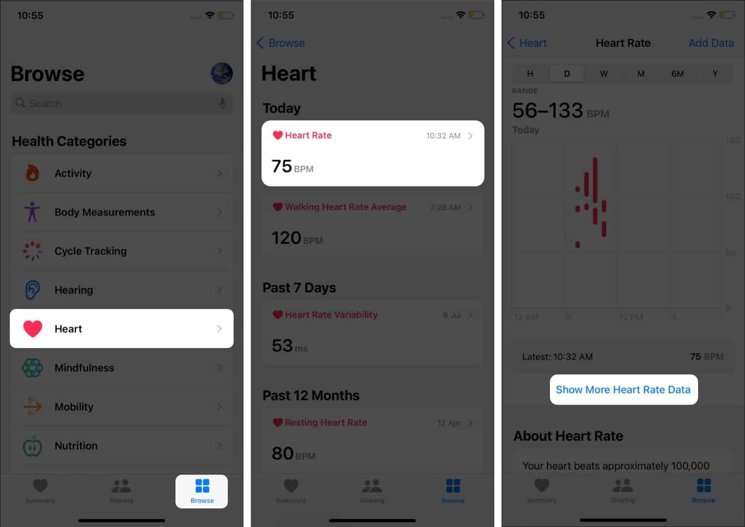 Смотрите частоту пульса во время дыхательных сессий на iPhone